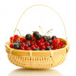Ripe berries in basket isolated on white — Stock Photo #11788517