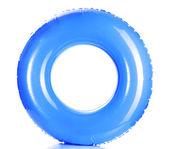 Blue life ring isolated on white — 图库照片