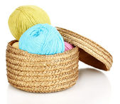 Knitting yarn in basket isolated on white — Stock Photo