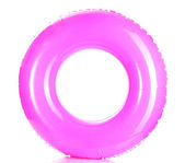 Pink life ring isolated on white — Stock Photo