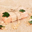 Hand-made natural soap on sackcloth - Foto de Stock