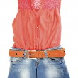 Womens blouse and denim shorts isolated on white — Stock Photo #11804889