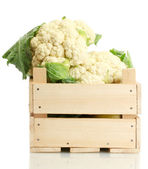 Choux-fleurs frais dans une boîte en bois isolé sur blanc — Photo