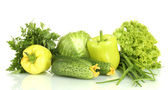 Zielone warzywa na białym tle — Zdjęcie stockowe