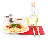 Composition of delicious cooked spaghetti with tomato sauce isolated on white — Stock Photo