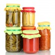 Jars with canned vegetables isolated on white - Stockfoto