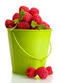 与薄荷桶装,白色上孤立的成熟莓 — 图库照片