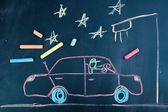 Auto unterwegs, ist kind mit kreide zeichnen — Stockfoto