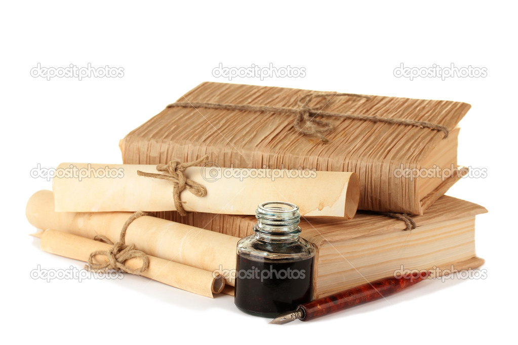 old books ink pen and ink bottle isolated on white stock photo belchonock 11845286. Black Bedroom Furniture Sets. Home Design Ideas