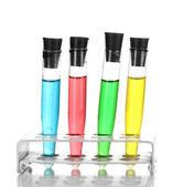 Test-buizen met kleur vloeistof geïsoleerd op wit — Stockfoto