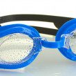 Blue swim goggles with drops isolated on white — Stock Photo #11870134