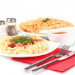 Stock Photo: Composition of delicious cooked spaghetti with tomato sauce isolated on white