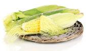 Frische maiskolben auf weide-matte isoliert auf weiss — Stockfoto