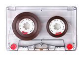 Audio cassette with color label isolated on white — Stock Photo