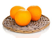 Oranges on the board isolated on white — Stock Photo