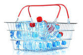 Plastic bottles of water in metal basket isolated on white — Stock Photo