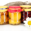 Jar with canned fruit on canvas background close-up - Stockfoto