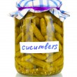 Jar with canned cucumbers isolated on white background - Stockfoto