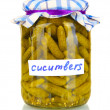 Jar with canned cucumbers isolated on white background — Stock Photo