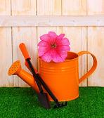 Narzędzia ogrodnicze na drewniane tła — Zdjęcie stockowe