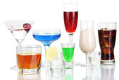 A variety of alcoholic drinks isolated on white — Stock Photo