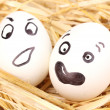White eggs with funny faces in straw — Stock Photo #11920359