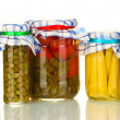 Jars canned vegetables isolated on white — Stock Photo