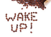 Composition of coffee beans. Wake up. — Stock Photo