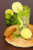 Mojito on a wooden background — Stock Photo