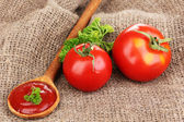 Ketchup and ripe tomatoes on sacking close-up — Stock Photo