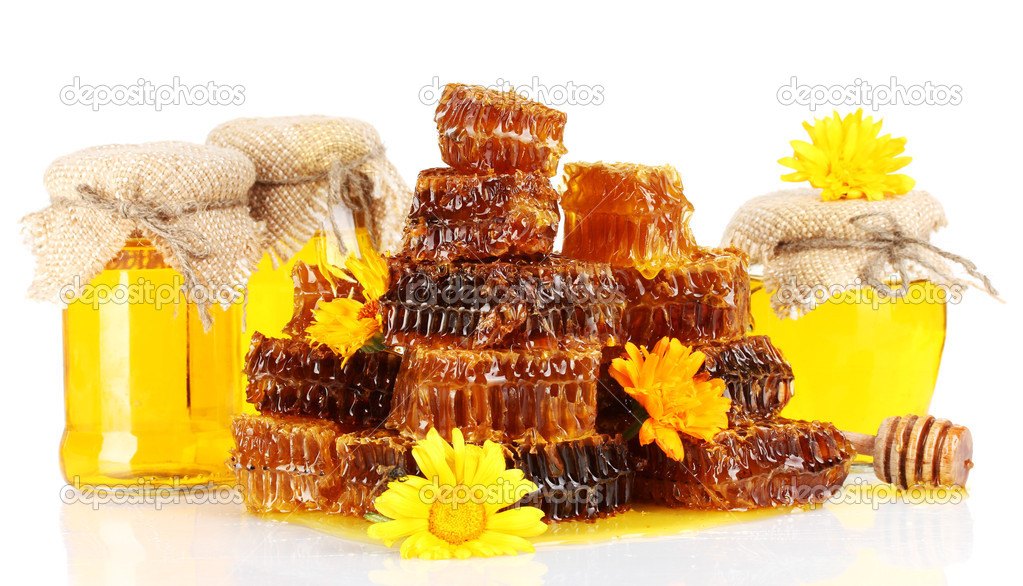 Sweet honeycombs, barrel and jars with honey, isolated on white  Stock Photo #11927382