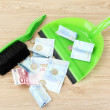 Stock Photo: Broom sweep euro on white background close-up