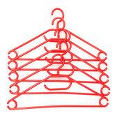 Plastic hangers isolated on white — Stock Photo