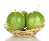 Three green passion fruit isolated on white — Stock Photo