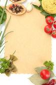 Papel para recetas, verduras y especias, aisladas en blanco — Foto de Stock