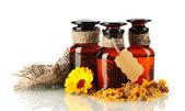 Medicin flaskor och calendula, isolerad på vit — Stockfoto