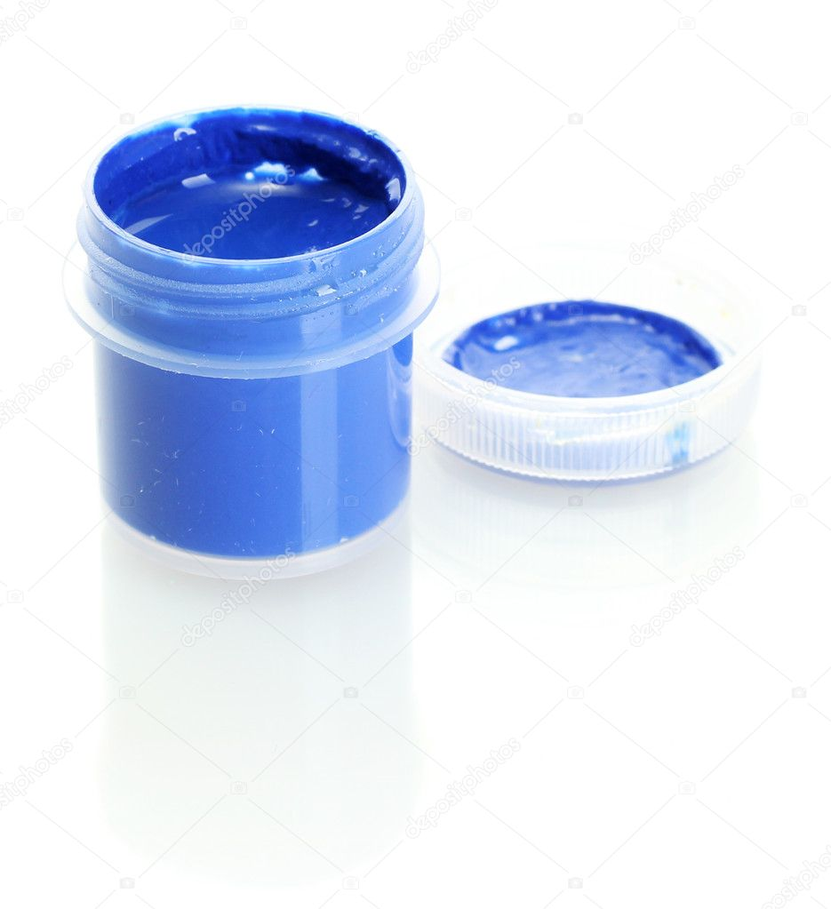 Jar with blue gouache isolated on white background close-up  Stock Photo #11941733