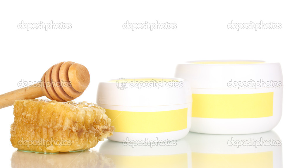 Jars of cream with honey isolated on white  Stock Photo #11941764