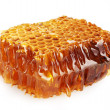 Stock Photo: Sweet honeycomb with honey, isolated on white
