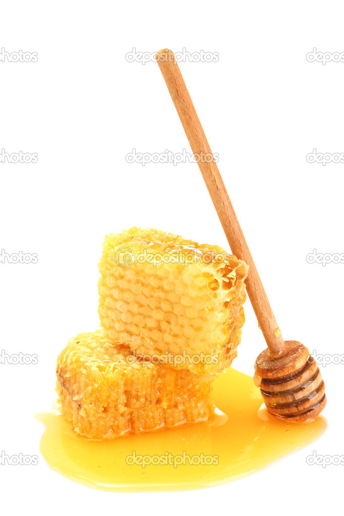 Golden honeycombs with honey isolated on white — Stock Photo #11958135