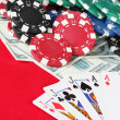 The red poker table with playing cards. The combination of full house — Stock Photo