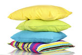 Bright color pillows isolated on white — Stock Photo