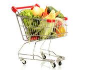 świeże warzywa w wózek metal na białym tle — Zdjęcie stockowe