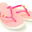Pink beach shoes isolated on white — Stock Photo #11999059
