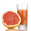 Grapefruit juice and grapefruit isolated on white — Stock Photo #12042659