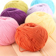 Knitting yarn on wooden background — Stock Photo