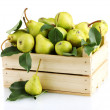 Stock Photo: Juicy flavorful pears in box isolated on white