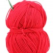 Red knitting yarn isolated on white — Stock Photo #12043031