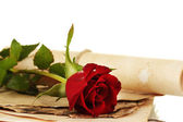 The old parchments and letters with a rose on a white background close-up — Stock Photo