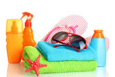 Bright beach accessories, isolated on white — Stock Photo
